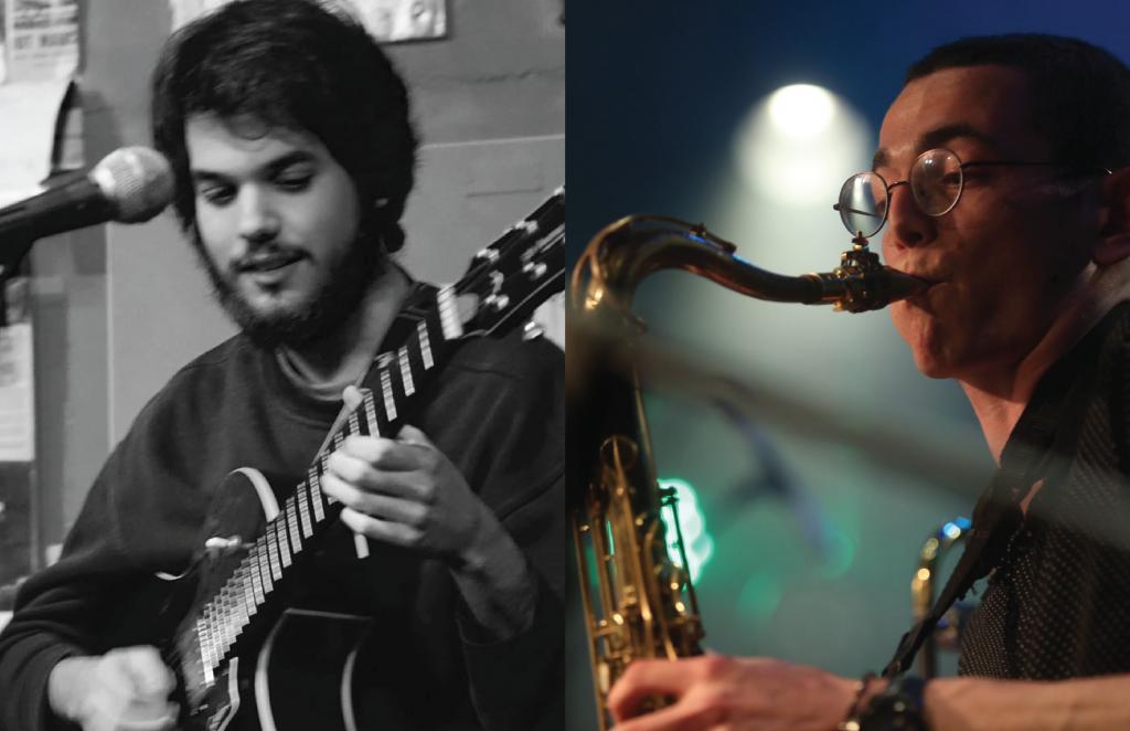 מצד ימין תמונה צבעונית של חצוצרן ומצד שמאל תמונה של גיטריסט בשחור לבן